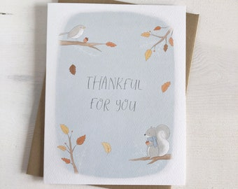 Thankful For You - Fall Stationery - Autumn Leaves - Squirrel Greeting Card - Autumn Stationery - Bird