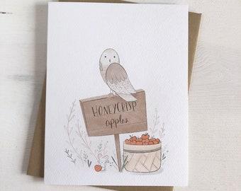 Honeycrisp Apples - Fall Stationery - Owl Cards - Autumn Stationery - Fall Illustration