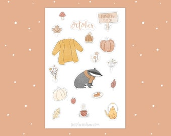October Sticker Sheet - Bullet Journal Accessories - Aesthetic Stickers - October Stickers - College Planner Stickers