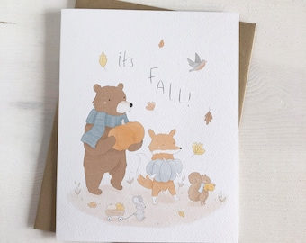 It's Fall - Fall Stationery - Fall Cards - Woodland Animal Greeting Card - Autumn Stationery - Pumpkins