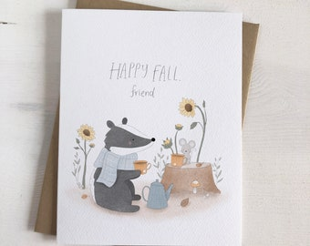 Happy Fall, Friend - Fall Stationery - Fall Cards - Badger Greeting Card - Autumn Stationery - Mouse