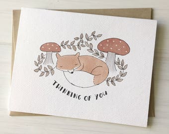 Thinking of You Fox - Just Because Card, Card for Friend, Sympathy Card, Fox Stationery, Watercolor Card, Fox Illustration, Woodland Card