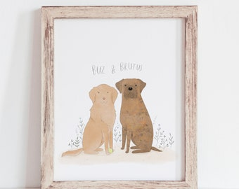 Custom Pet Portrait Watercolor   Personalized Pet Gift    Pet Memorial Gift   Pet Portrait Illustration   Birthday Gift for Friend