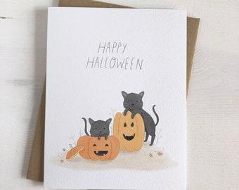 Happy Halloween - Halloween Card - Black Cats - Jack O Lantern - Pumpkins - Halloween Stationery
