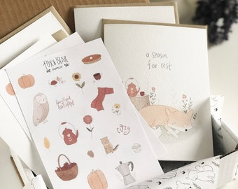 The Cozy Card Pack - Autumn Cards - Card Pack with Stickers - Stationery Box