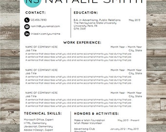 Resume Template | Microsoft Word Instant Download with Cover Letter and References | Natalie Design | Professional and Creative Resume
