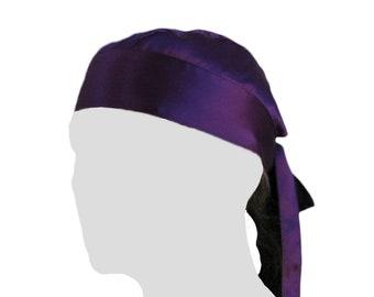 100% Silk Charmeuse Dew Rag Regal Purple durag doo-rag du rag doo-rag