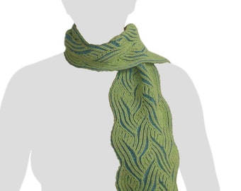 Handknit Hand-dyed Turquoise and Sea-foam Green Reversible Brioche Knit Scarf