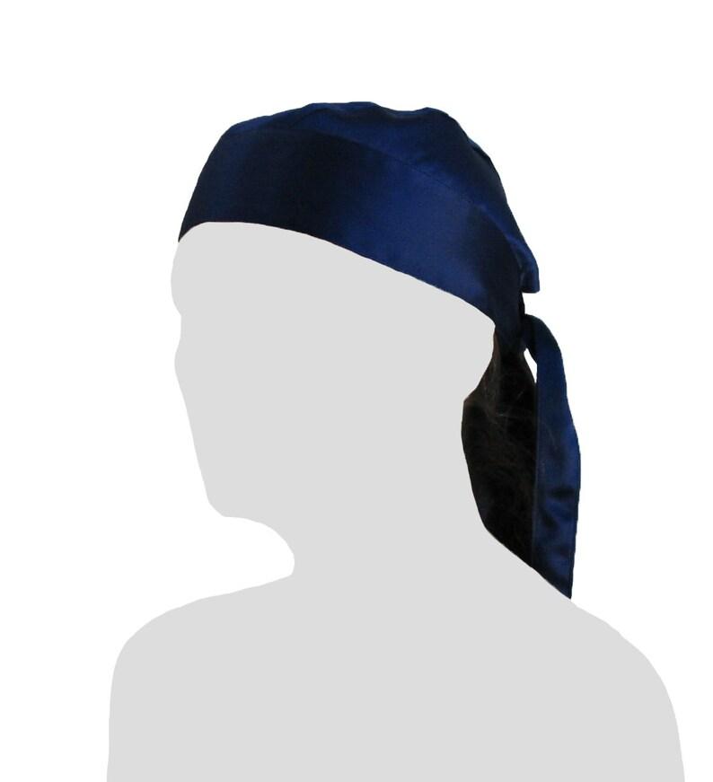 c3d4cc5536b 100% Silk Charmeuse Dew Rag Navy Blue durag doo-rag du rag