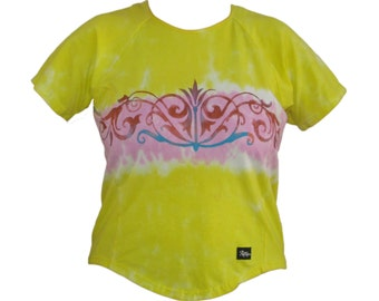Women's Hand Painted Tie-Dye Bicycling Jersey Lemon Yellow and Pink