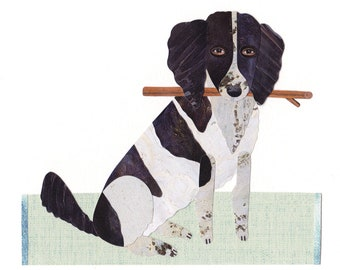 bf8b53925f6b DOG PORTRAIT CUSTOM, Spaniel Pet Portrait, Dog Portrait, Dog Lovers Gift,  Dog Illustration, Dog Art, Collage Dog Portrait, Dog Portrait