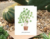 PILEA PEPEROMIOIDES - Greeting Card with Plant Care, Plant Card, Pilea Card, Chinese Money Plant, Plant Lover Card, Botanical, House Plant