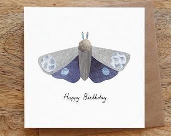 BIRTHDAY BLUE MOTH - Greeting Card, Birthday Card, Moth, Blue, Happy Birthday, Illustrated, Collage