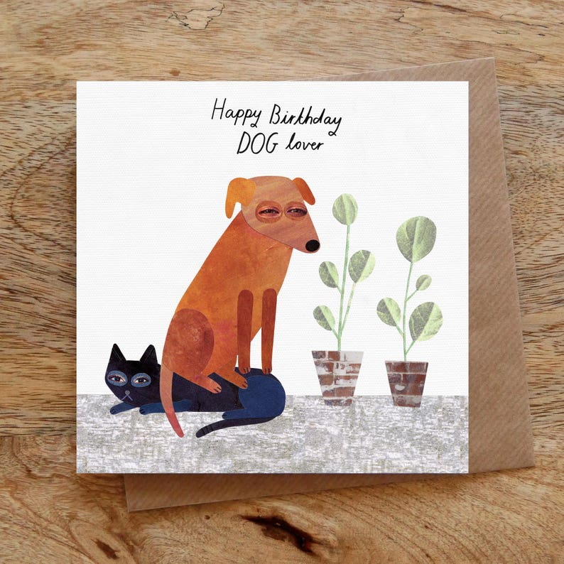 DOG LOVER Birthday Greeting Card Dog