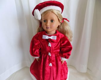Red and White Delight Dress and Beret-Fits American Girl, My Life, Journey and other 18 in dolls