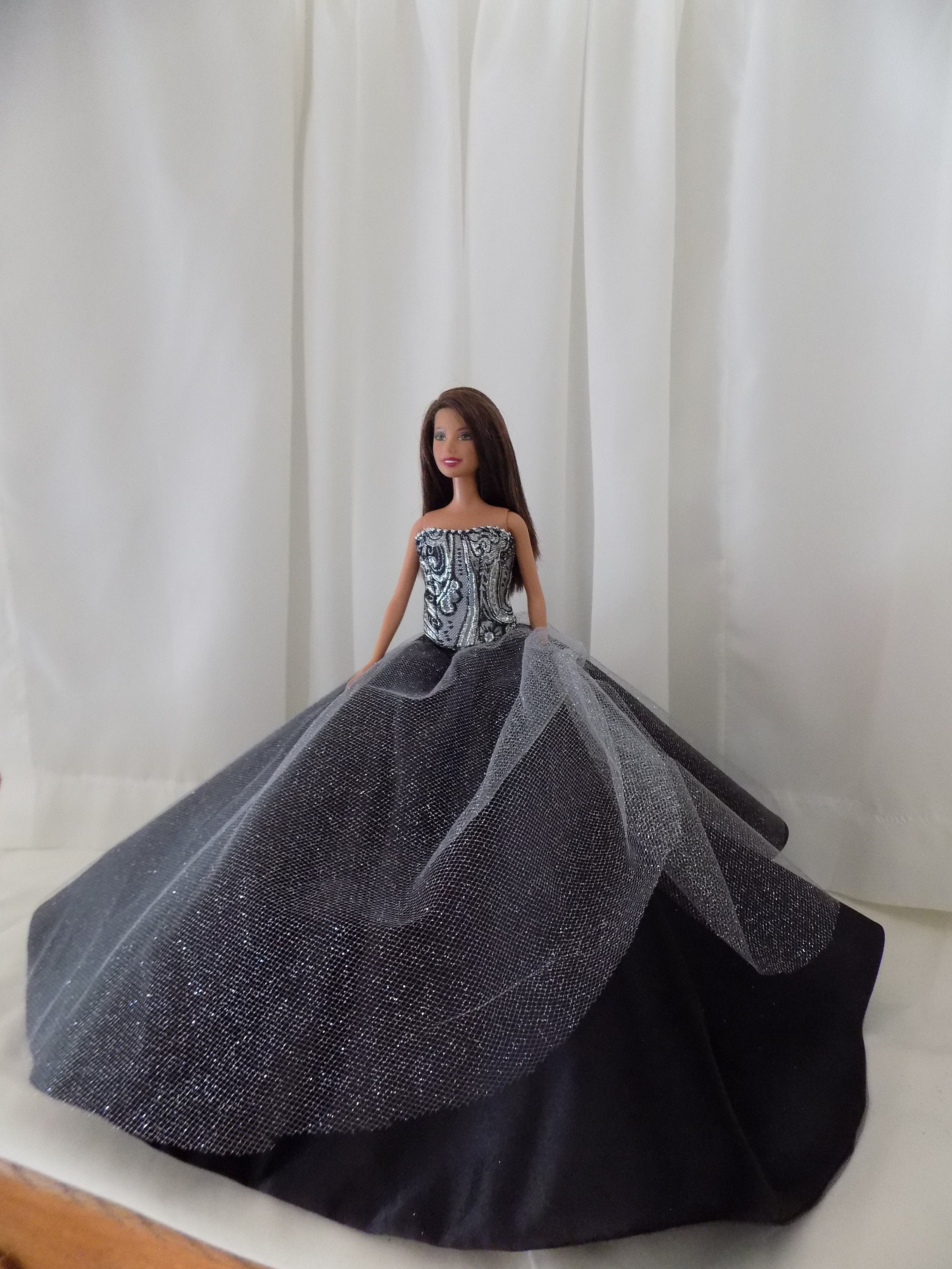 Fashion Royalty Silver  Bead Evening Dress Gown  For 11.5 inch Doll