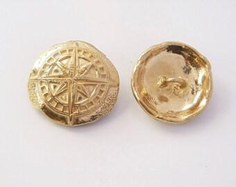 Handmade Button Clasp (BC1g) GOLD BRONZE Clasp, Wrap Bracelet Clasp, ONE Handmade Button Clasp, Handmade Gold Bronze Necklace Clasp
