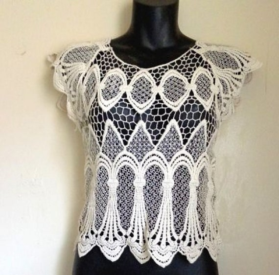 Crochet Crop Top| Vintage Open Weave Crop Top| Boh