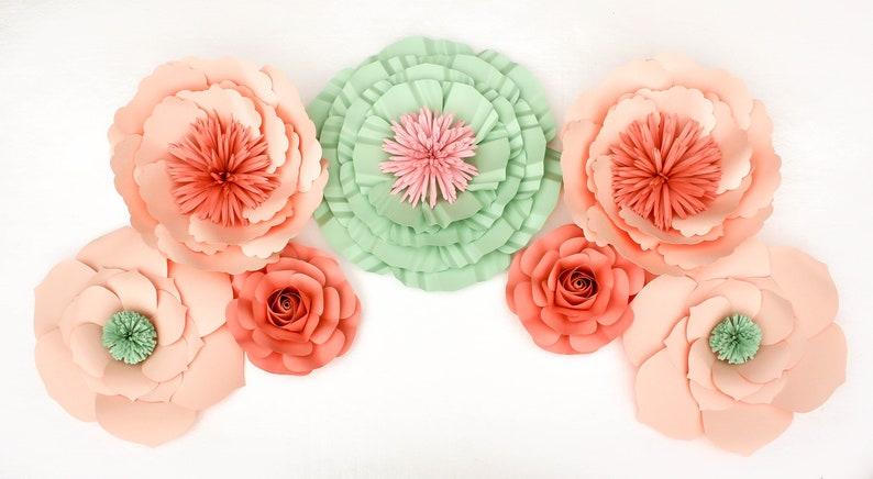 baby shower 7 piece paper flowers set for room decor nursery