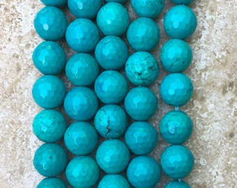 """Genuine Natural Turquoise 14mm Faceted Round Beads - Not Treated - FULL 16"""" strand of beautiful deep blue beads, about (27) beads - G1063"""