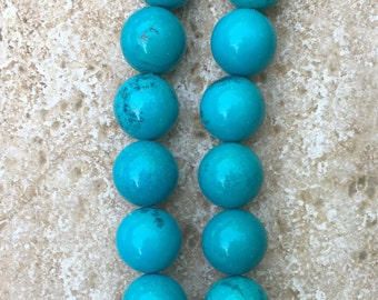 """Genuine Natural Turquoise 18mm Round Beads - Not Treated - FULL 16"""" strand of beautiful deep blue beads, about (22) beads - G1057"""