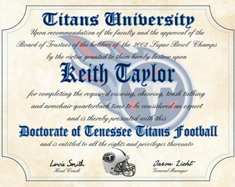 """Tennessee Titans Ultimate Football Fan Personalized Diploma - Perfect Gift - 8.5"""" x 11"""" Parchment Paper"""