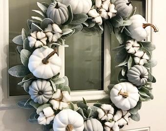 Fall Wreath | Neutral | Farmhouse Wreath | White Pumpkin Wreath | Pumpkin Cotton Wreath | Lambs Ear Wreath | Smaller