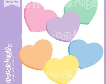 Heart Clipart, Digital Hearts, Valentine Clipart, Candy Hearts digital clipart