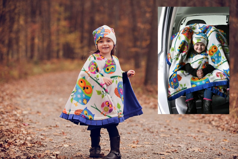Car Seat Poncho Owl  Cozy Gozy Travel Capes are warm winter image 0