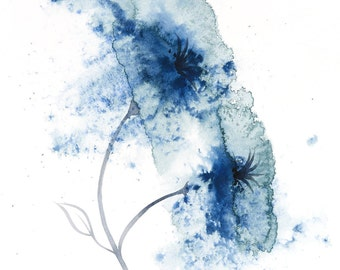 Print of abstract flower painting in navy blue, signed by artist, available in sizes 6x4, 8x6, 10x7, 12x9, 16x12, 20x15