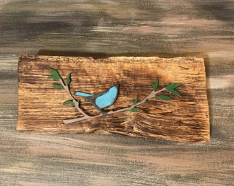 Metal and wood decor, bird on a twig, rusted weathered rough wood