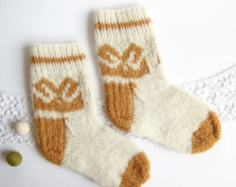 Knit Warm Wool Socks | Pure Wool Socks | Homemade Socks | Knitted Pure Wool Yarn Socks | Knitted By Grandmother | Warm Socks For Child