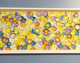 Painted Glass Original Abstract Wall Art | Alcohol Ink Art on Glass | Contemporary Wall Decor | Yellow + Smoky Blue