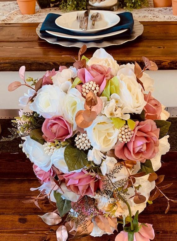 Cascading Wedding Bouquet Bridal Bouquet Dusty Rose Bouquet Etsy