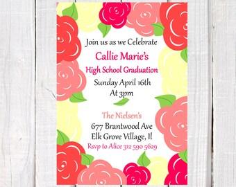 2017 Graduation invitation, girl graduation invite, floral graduation invitation, college, high school graduation, 8th grade, class of 2017