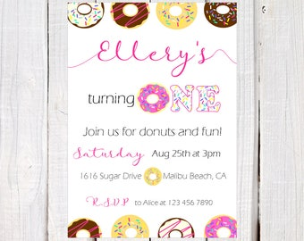 Simple donut party invitation, Pink  Chocolate icing Donut Invitation, pink Donut first birthday invitation, donut wall, back side included