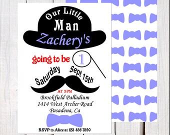 Boy First Birthday Invitation, 1st Birthday Invitation, our little man invitation, Bowler Hat Bowtie Invitation, Mustache Bash Invitation
