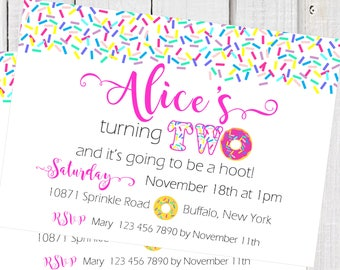 Donut Invitation, sprinkles Donut turning two birthday invitation, Donut party  donut wall, Pink sprinkles invitation, double sided invite.