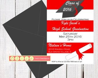 8th grade graduation invitations etsy 2016 graduation invitation graduation party invite high school graduation college graduation 8th grade graduation customize colors filmwisefo