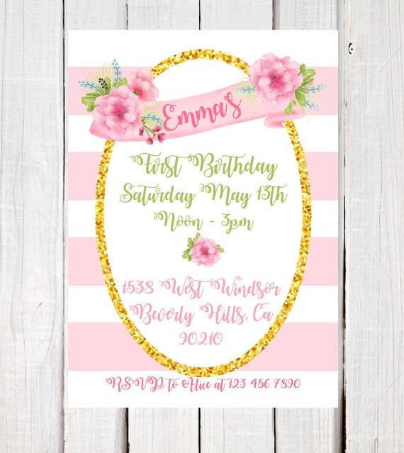 Girl Birthday Invitation Pink And Gold