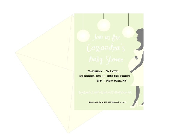 Baby shower invitation with pregnant mom silhouette pastel etsy image 0 filmwisefo