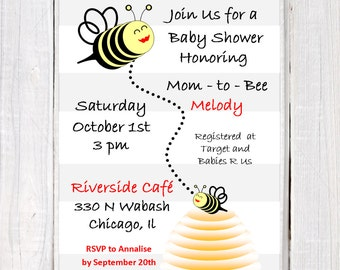 Bumble Bee baby Shower invitation, Bumble Bee invitation honoring Mom to Bee invitation. Grey, Yellow and Black bee baby shower design,