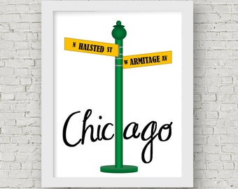 Chicago Chi town Custom street sign prints, going away or hostess gift, home intersection, vintage street sign prints, nostalgic street name