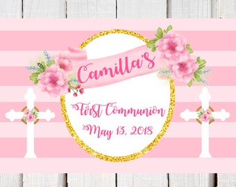 First Communion  placemats, personalized party placemat pink, white, gold.  Digital PDF party place mat for girl's Communion printable PDF.