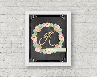 Nursery Initials, chalkboard prints, nursery prints, watercolor initials, watercolor wreath nursery prints, kids art decor, digtal prints
