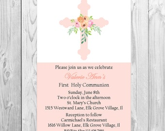 Baptism, Christening, first holy communion invitation girls Modern invitation , simple with a floral cross, 1st holy communion religious