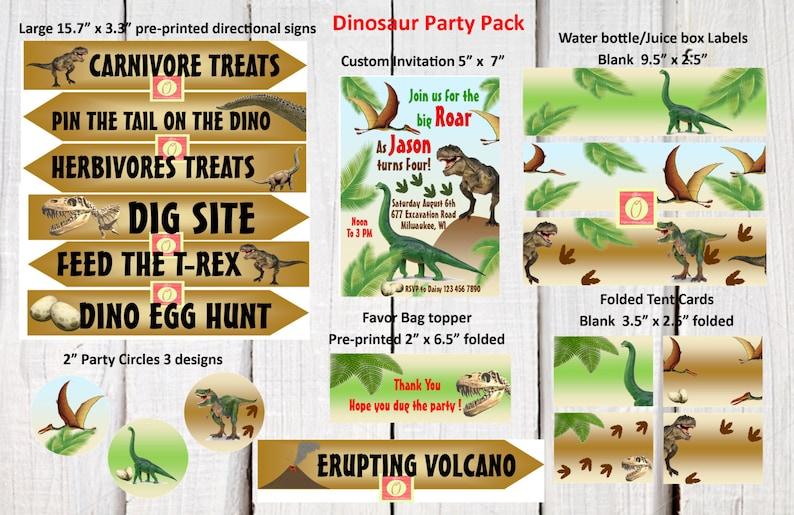 t-rex invitation dinosaur water bottle label Dinosaur dig invitation party set dinosaur tent card directional signs dinosaur favor tags