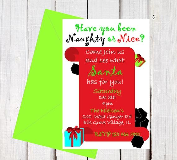 Christmas Invitations Naughty Or Nice Holiday Invitations Santas