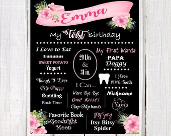Girl first birthday poster, pink and black chalkboard baby first birthday poster, chalkboard baby's  favorite poster, baby likes poster