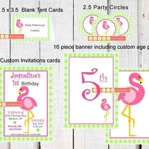 banner and Party Hat template with in a fun modern Gingham theme Red Gingham printables Birthday PARTY PACK  including printable Invitation